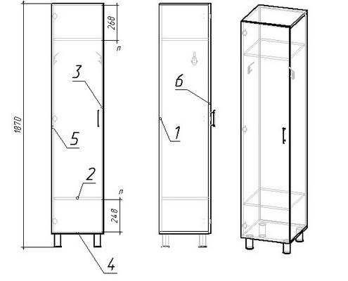 шкаф односекционный чертеж