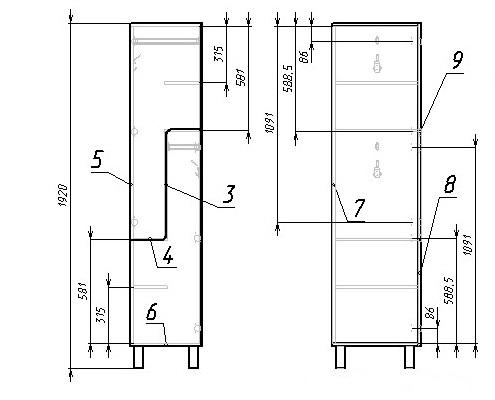 чертеж шкафчика раздевального