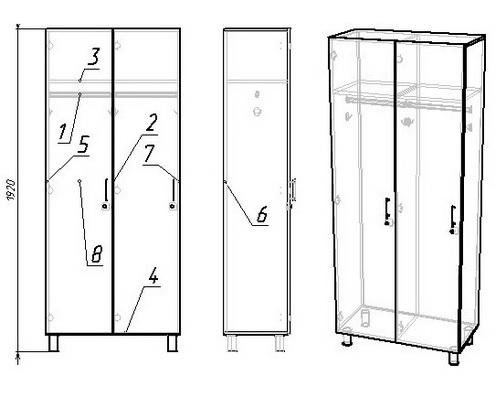 шкаф раздевальный двухсекционный